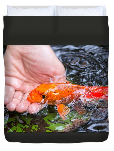 A Koi In The Hand Duvet Cover