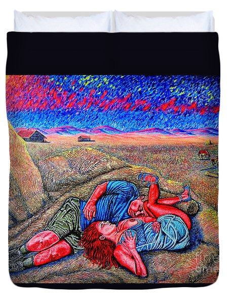 Duvet Cover featuring the painting A La Campagne/at The Country/ by Viktor Lazarev