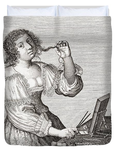 A Lady At Her Toilette, After A 17th Century Engraving By Le Blond.  From Illustrierte Duvet Cover