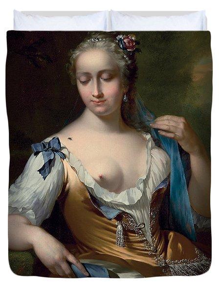 A Lady In A Landscape With A Fly On Her Shoulder Duvet Cover by Frans van der Mijn