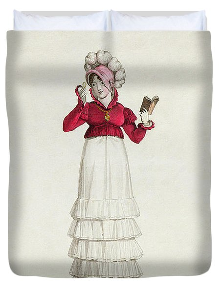 A Lady In A Levantine Hat Duvet Cover by Antoine Charles Horace Vernet