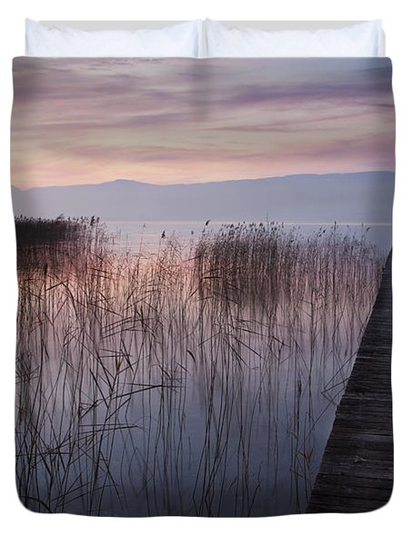 A Lake A Pier And Some Reeds Duvet Cover