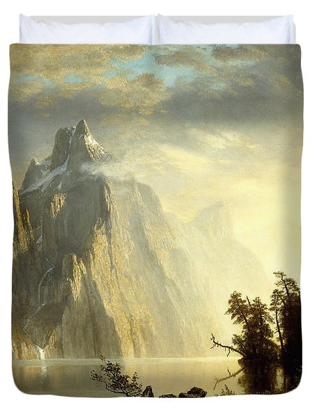 A Lake In The Sierra Nevada Duvet Cover by Albert Bierstadt