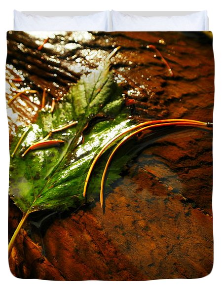 A Leaf Washed Over Duvet Cover by Jeff Swan