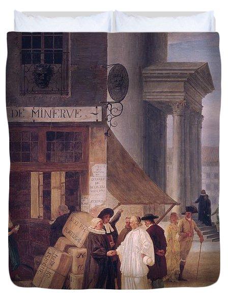 A Legide De Minerve Oil On Canvas Duvet Cover