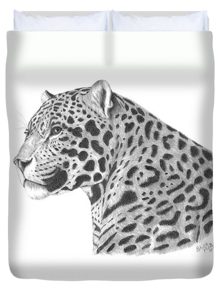A Leopard's Watchful Eye Duvet Cover by Patricia Hiltz