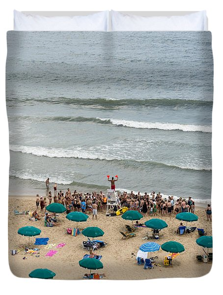 A Lifeguard Gives A Safety Briefing To Beachgoers In Ocean City Maryland Duvet Cover