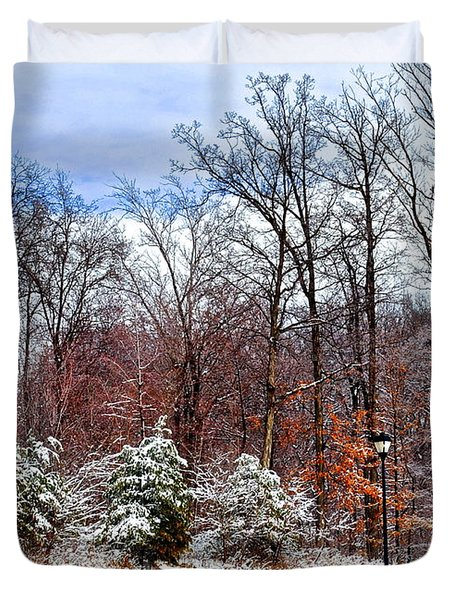 A Light Dusting Duvet Cover by Frozen in Time Fine Art Photography