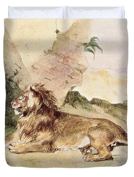 A Lion In The Desert Duvet Cover