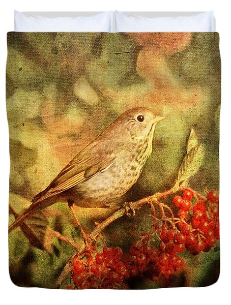 A Little Bird With Plumage Brown Duvet Cover by Lianne Schneider