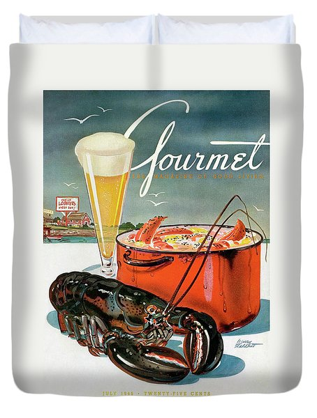 A Lobster And A Lobster Pot With Beer Duvet Cover