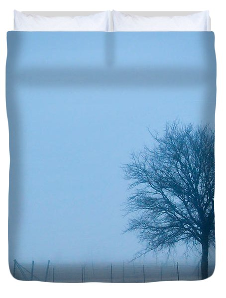 A Lone Tree In The Fog Duvet Cover