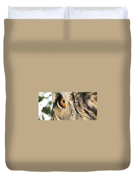 Duvet Cover featuring the photograph Bubo Bubo- Eurasian Eagle Owl. Close Up. by Ausra Huntington nee Paulauskaite