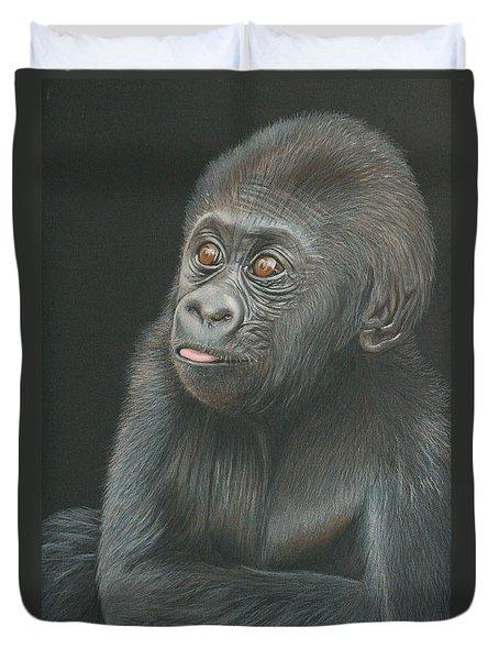 A Look Of Wonder - Baby Gorilla Duvet Cover