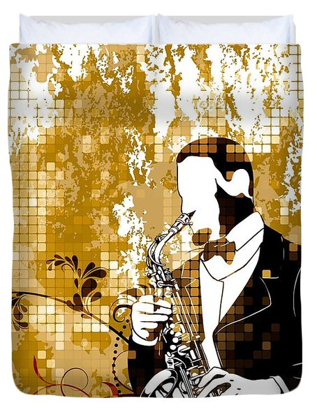A Love For Sax Duvet Cover by Stanley Mathis