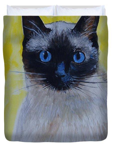 A Loving Siamese Duvet Cover by Leslie Allen