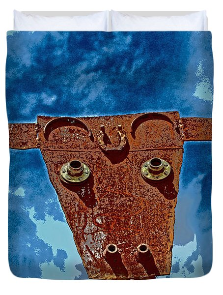 Duvet Cover featuring the photograph A Lucky Bull by Lynn Sprowl