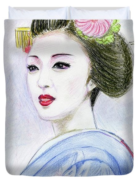 Duvet Cover featuring the drawing A Maiko  Girl by Yoshiko Mishina