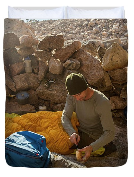 A Male Mountain Climber Getting Ready Duvet Cover