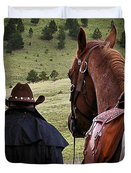 Duvet Cover featuring the photograph A Man And His Horse II by Steven Reed