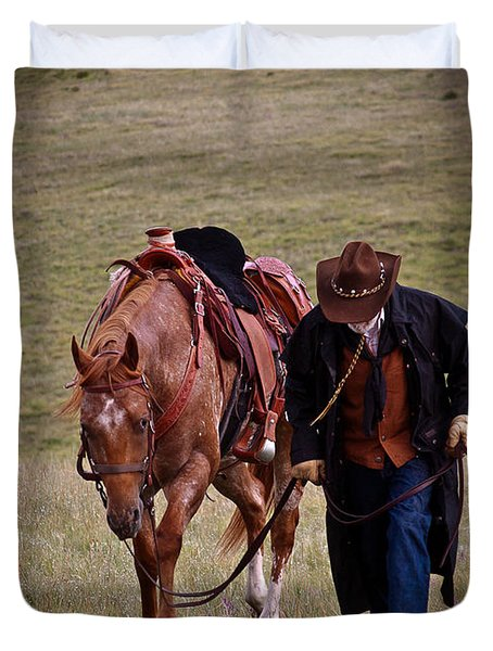 Duvet Cover featuring the photograph A Man And His Horse by Steven Reed