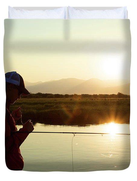 A Man Fishes The Teton River Duvet Cover