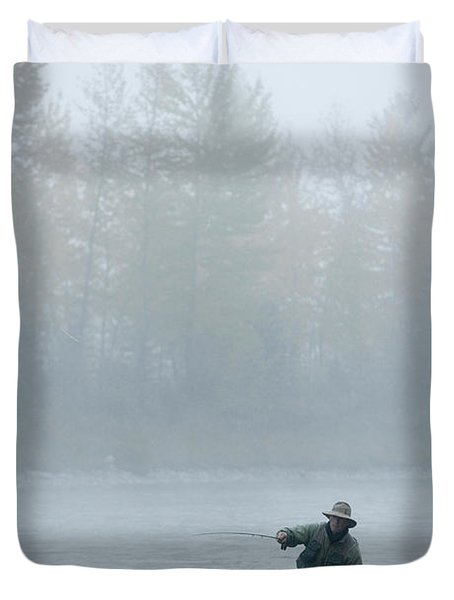 A Man Fly-fishing On Elk River, Bc Duvet Cover