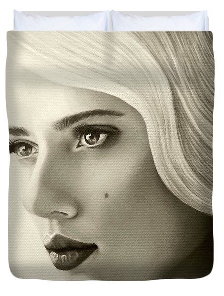 A Mark Of Beauty - Scarlett Johansson Duvet Cover by Malinda Prudhomme