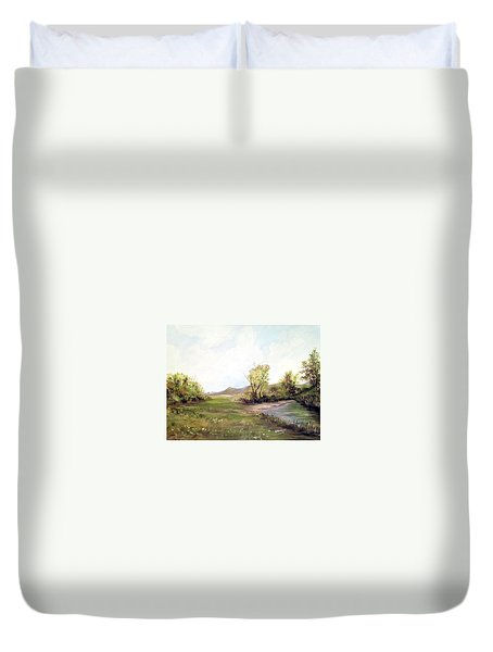 A Meadow Along The River Duvet Cover by Dorothy Maier