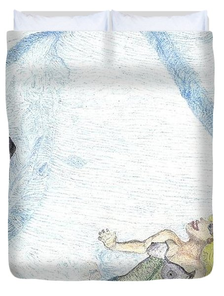 Duvet Cover featuring the drawing A Mermaids Moment by Kim Pate