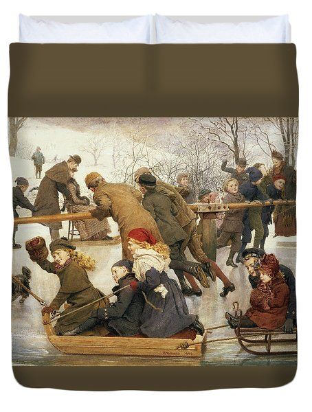 A Merry Go Round On The Ice, 1888 Duvet Cover
