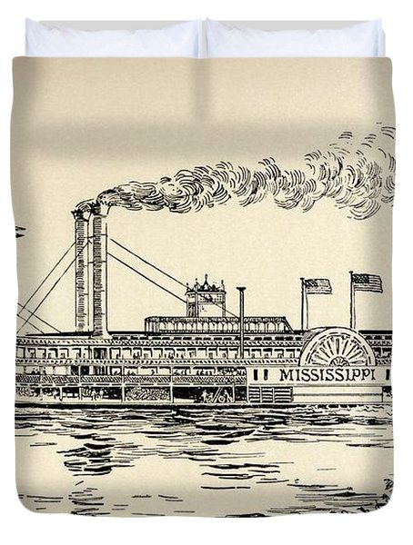A Mississippi Steamer Off St Louis From American Notes By Charles Dickens  Duvet Cover by EH Fitchew