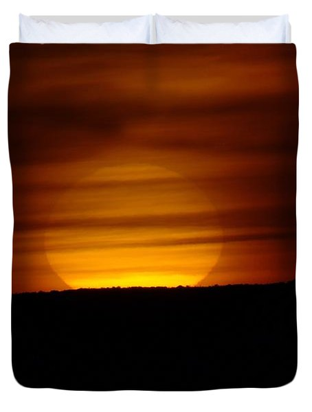 A Misted Sunset Duvet Cover by Jeff Swan
