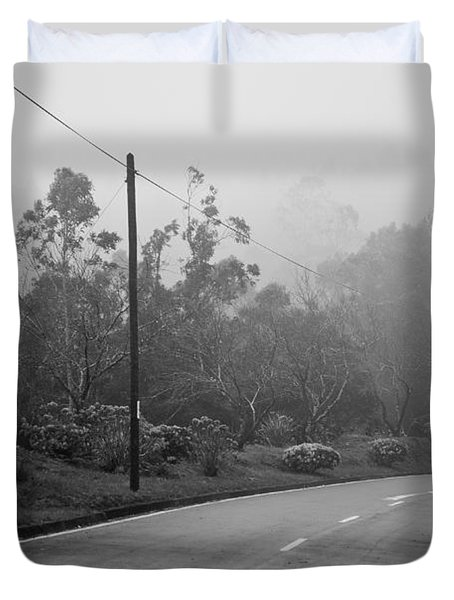 A Misty Country Road Duvet Cover