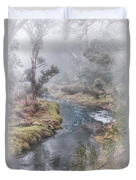 A Misty Morning In Bridgetown Duvet Cover by Elaine Teague