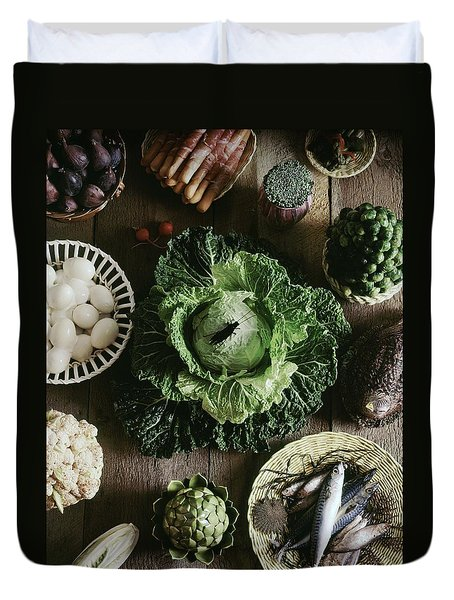 A Mixed Variety Of Food And Ceramic Imitations Duvet Cover