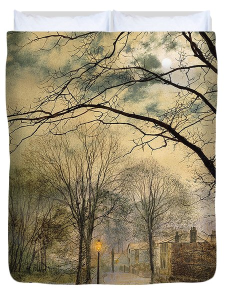 A Moonlit Stroll Bonchurch Isle Of Wight Duvet Cover by John Atkinson Grimshaw