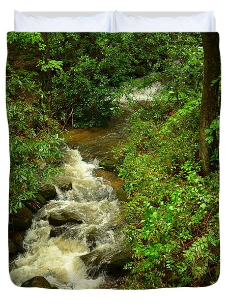 Duvet Cover featuring the photograph A Mountain Stream After The Spring Rains by Bob Sample