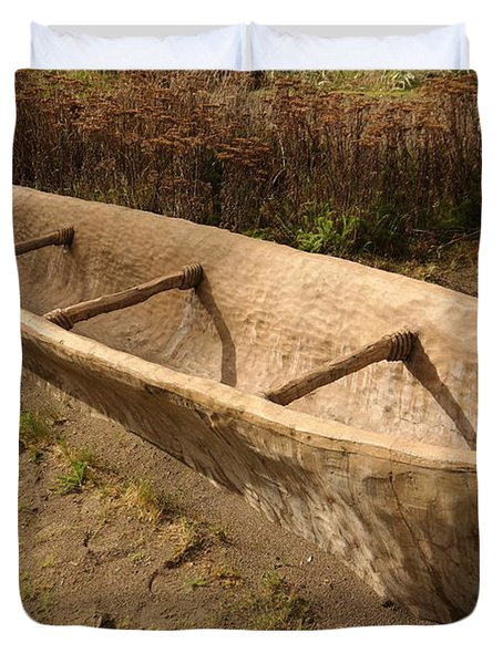 A Native American Fishing Boat Duvet Cover