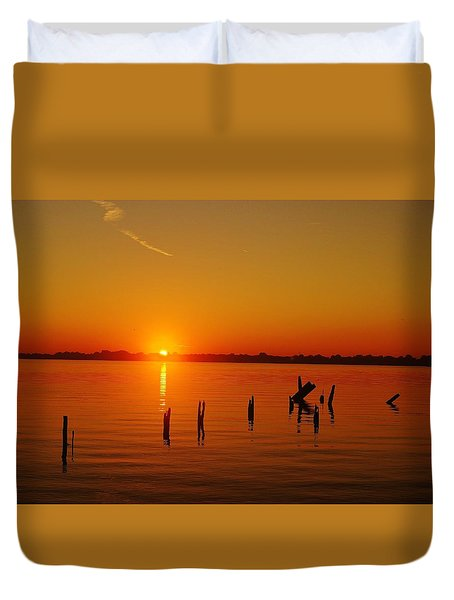 A New Day Dawns... Over Dock Remains Duvet Cover