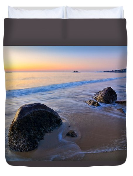 A New Day Singing Beach Duvet Cover by Michael Hubley