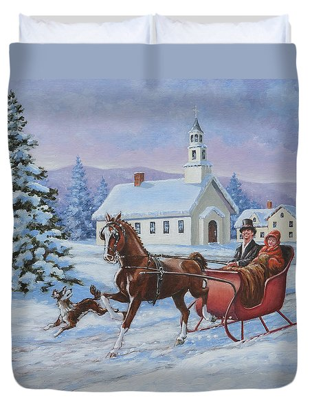 A One Horse Open Sleigh Duvet Cover