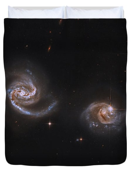 A Pair Of Interacting Spiral Galaxies Duvet Cover by Roberto Colombari