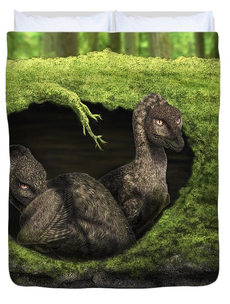 A Pair Of Juvenile Troodons Duvet Cover by Alvaro Rozalen