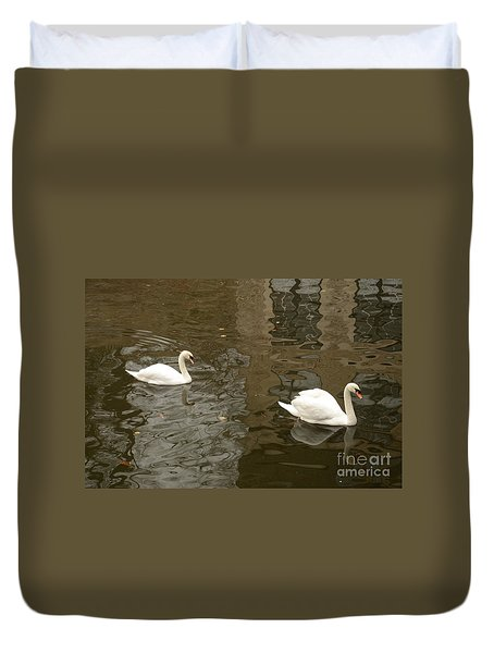 Duvet Cover featuring the photograph A Pair Of Swans Bruges Belgium by Imran Ahmed
