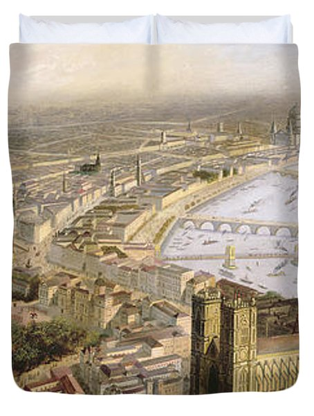 A Panoramic View Of London Duvet Cover by English School