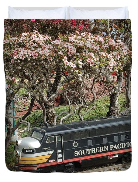 A Passenger Train Passes By Farm House Duvet Cover