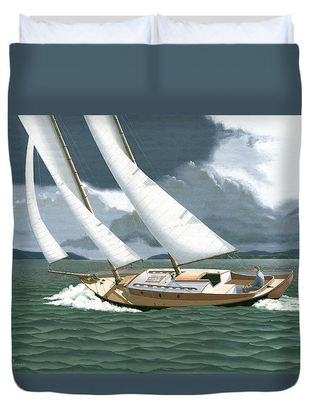 Duvet Cover featuring the painting A Passing Squall by Gary Giacomelli