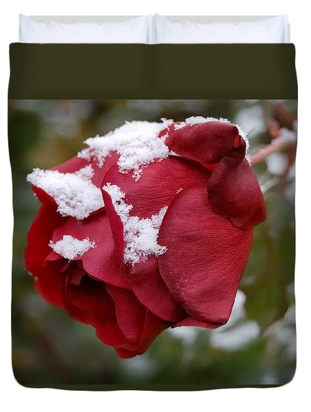 A Passing Unrequited - Rose In Winter Duvet Cover