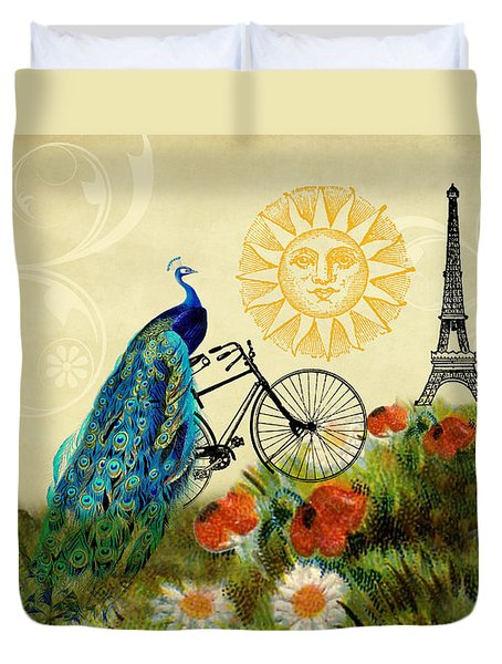 A Peacock In Paris Duvet Cover by Peggy Collins